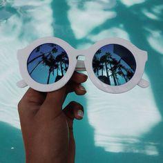 sunglasses cool yaass hipster stuff white pool water colorful palm trees purple retro hepburn vintage fashion white sunglasses