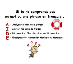 """When your students don't understand a word or sentence in French, have them follow this acronym """"AIDE"""""""
