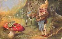 FANTASY DWARF Gnome paints FROG MUSHROOM signed SCHONIAN vintage postcard