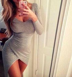 Slim V-neck long-sleeved dress