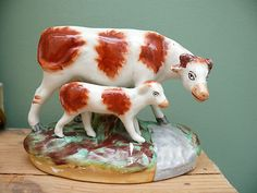 SUPERB 19thc STAFFORDSHIRE FIGURE OF COW AND CALF