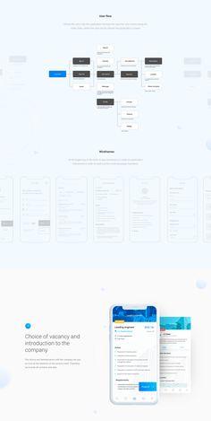 App for search job on Behance Ux Design Portfolio, Portfolio Ideas, User Flow, Website Design Inspiration, Wireframe, Interactive Design, Ui Ux, Ui Design, Case Study