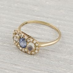 Image of Vintage Sapphire and Moonstone Engagement Ring