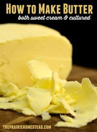 How to make butter - includes detailed instructions and lots of pics for both sweet cream and culture butter. Another site said 2 pints = 1 pound butter. Homemade Cheese, Homemade Butter, Real Homemade, Homemade Sweets, Real Food Recipes, Cooking Recipes, Yummy Food, Cooking Tips, Vegan Recipes