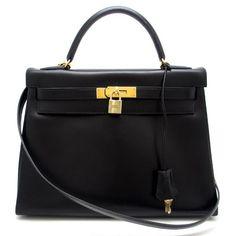 Hermes 32cm Kelly Bag Black Gold Hardware Box Calf Leather (146.781.720 IDR) ❤ liked on Polyvore featuring bags, handbags, hermès, hermes bag, hermes purse and hermes handbags