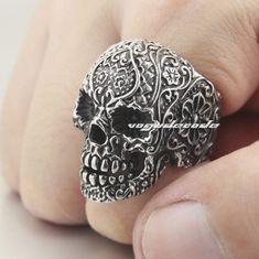 316L Stainless Steel Mens Skull Ring 3T003 Biker Ring US $4.99