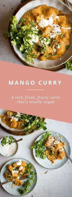 Mango and Tofu Curry A rich, fresh and vegan mango curry with tofu SO GOOD!A rich, fresh and vegan mango curry with tofu SO GOOD! Curry Recipes, Veggie Recipes, Indian Food Recipes, Vegetarian Recipes, Cooking Recipes, Healthy Recipes, Batch Cooking, Vegan Recipes To Freeze, Mexican Recipes