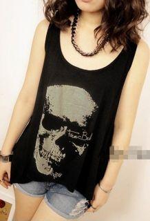 Wholesale Loose Skull Punk Singlet Vintage Tank Pop Top Long Black Vest