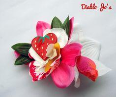 Strawberry heart hair flower, Rockabilly, Pin Up, Summer hair by DiabloJos on Etsy