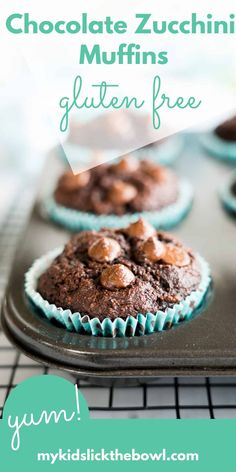 Healthy Chocolate Zucchini Muffins a gluten free low carb recipe made with ground almond Lunch Box Recipes, Baby Food Recipes, Baking Recipes, Snack Recipes, Dessert Recipes, Snacks, Family Recipes, Muffin Recipes, Cupcake Recipes