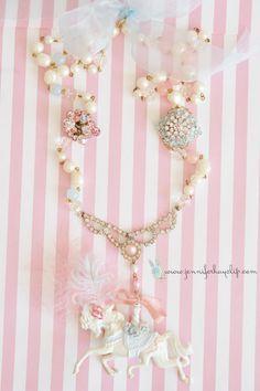 Pastel Parisian #Carousel #Necklace handmade by Jennifer Hayslip