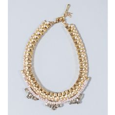 John & Pearl Gold Collar Necklace (£75) ❤ liked on Polyvore featuring jewelry, necklaces, ribbon cord necklace, woven necklace, chains jewelry, chain necklace and braid jewelry