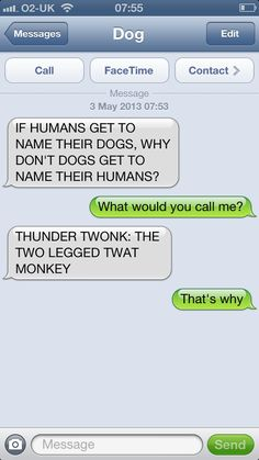 That's y dogs don't name human