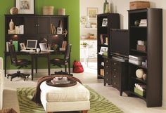 Aspenhome E2 Midtown Two-Person Dual T Curved Desk with Storage Hutch Combination at Sheely's Furniture & Appliance
