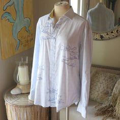 Robert Graham Blue Print Button Down Shirt Top Large | eBay