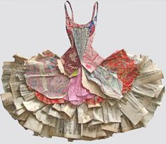 Robe en papier ~ this would be so pretty framed on a little paper doll.