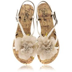 white sandals with flower