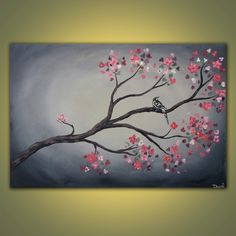 Birds On Branches Canvas | Spring Branch original acrylic bird painting on canvas 3ft x 2ft SALE
