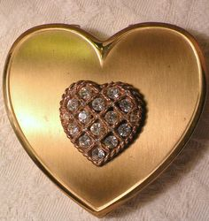 Vintage Powder Compact  Heart  Shape by RosePetalResources on Etsy, $32.00