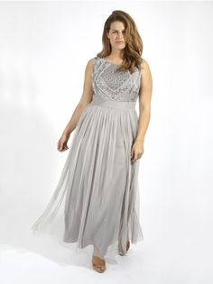 04cc9094ae6460 Lovedrobe Luxe Sequin Embellished Maxi Tulle Dress In Grey - Plus Size