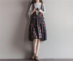 Summer Women Cotton Linen Dress Mori Girl Style Vintage Flower Print Deep V-neck Sleeveless High Waist Pleated Tank Dress                                                                                                                                                                                 More