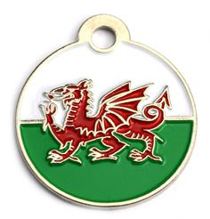 Wales Flag Dog Id Tag Small Disc | Happy Dog Days