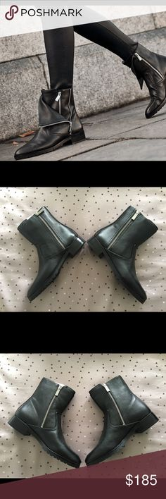 Michael Kors Andi Flat Booties Almond-toe leather booties that can be worn fully zipped for a conservative look or zipped & folded for an edgy look 😎 Michael Kors Shoes Ankle Boots & Booties