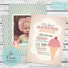 Vintage Ice Cream Invitation by 3LittleMonkeysStudio on Etsy, $15.00