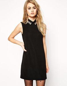 ASOS Rib Shift Dress with Embellished Collar
