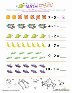 Preschool Counting & Numbers Subtraction Worksheets: Preschool Math: Stellar Subtraction