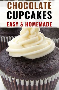 easy chocolate cupcakes are homemade perfection from a simple recipe that's always a hit with kids and adults too. These easy chocolate cupcakes are homemade perfection from a simple recipe that's always a hit with kids and adults too. Easy Chocolate Cupcake Recipe, Homemade Cupcake Recipes, Cupcake Recipes From Scratch, Best Chocolate Cupcakes, Baking Recipes, Easy Chocolate Recipes, Simple Cupcake Recipe, Moist Cupcake Recipes, Chocolate Cupcakes From Scratch