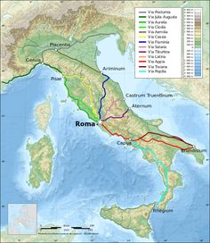 Map: Italy topographic map-ancient Roman roads
