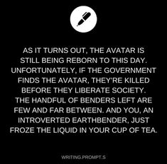 Avatar writing prompt? Uh yes please!!
