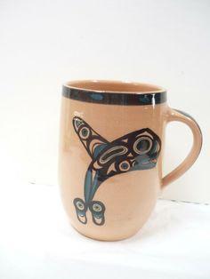 Lambert Pottery Mug Northern Killer Whale Design Vancouver BC #NorthwestNative Pottery Mugs, Pottery Bowls, Ceramic Clay, Ceramic Bowls, Vancouver, David Lambert, Giant Tree, Plate Display, Killer Whales