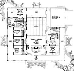 First Floor Plan Of Prairie Style Southwest House Plan 90268 The Exterior  Is Hideous But I Part 9