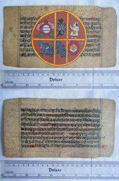 Original Antique Manuscript Old Jain Cosmology New Hand Painting Rare India #566