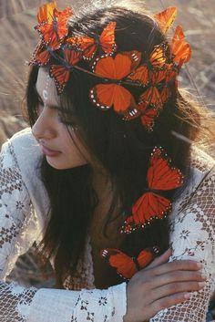 Monarch Butterfly Mini Crown Hat Orange Black Antennae Costume Accessory Beads