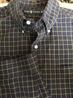 Men Ralph Lauren Blue Black Green Yellow Plaid X-Large Shirt L/S Polo has Pocket  | eBay