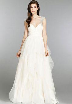 v-neck a-line empire chapel train satin,organza wedding dress - Gindress.com