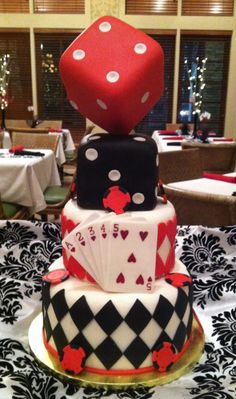 Casino Night Cake.  Marshmallow fondant covered cake.  Fondant cards and poker chips.  All edible.