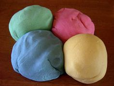 make your own playdough! MICROWAVE PLAYDOUGH 1 c. flour 1 c. water 1/2 c. salt 2 tsp. cream of tartar 1 tbsp. cooking oil Food coloring or 1 pkg Koolaid mix Mix all ingredients, except food color. Put in microwave on high for 1 minute. Stir. Cook on high for 30 seconds. Continue until dough pulls away from sides of bowl and it is no longer soupy. Knead until smooth. Let children add food coloring.