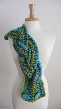Tunisian Crochet braided neck warmer - It is 3 scarves, braided together and fastened at the end.  short cowl length