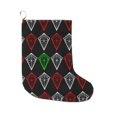 Geometric Diamond, Ruby and Sapphire Pattern Large Christmas Stocking  by earlykirky