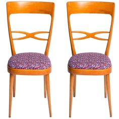 Set of Six 1950s Italian Chairs Featuring Vintage Upholsteries by LaDoubleJ | 1stdibs.com