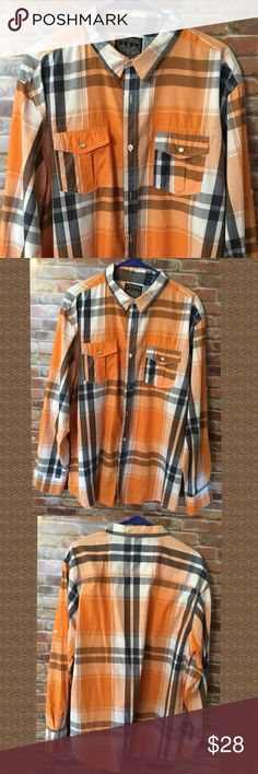 HOST PICK...Button Down Shirt Long sleeve , button down shirt ,with front pockets snap, gray/orange/white/black , button on sleeves to roll sleeve up...excellent condition Straight Faded Shirts Casual Button Down Shirts