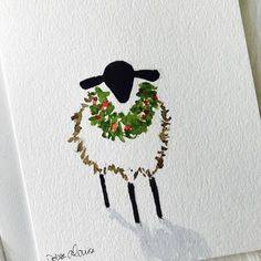Christmas Sheep with a Wreath Original Painting with a Shadow. on a 5 x 7 . Christmas Sheep with a Wreath Original Painting with a Shadow. on a 5 x 7 Greeting Card with Envelope.