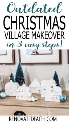 """You won't believe the before photo!  This easy step-by-step tutorial and video shows you how to give your Christmas village or nativity scene display a makeover with paint and a little clear glitter. This vintage village makeover can also work on a nativity set, no matter the colors.  Included are display ideas to give it a """"wood and white"""" look. Thrifted Christmas Village Makeover Makeover.  Dollar Store Elegant Christmas Decor, Simple Christmas, Christmas Tree Decorations, Christmas Diy, White Nativity Set, Spray Painting Glass, Winter Wonderland Decorations, Christmas Crafts For Adults, Traditional Christmas Tree"""