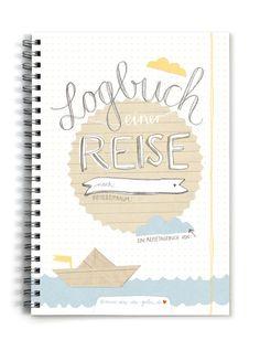 **Logbuch einer Reise - A5 Reisetagebuch zum selberschreiben & gestalten, Weiß Beige Blau, Vintage Design** Mal schauen, was da mit der Post kam: Das Reisetagebuch mit genug Platz für 50 Tage...