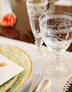 """Pearl"" cut crystal wineglasses are elegant but substantial, available from William Yeoward Crystal."