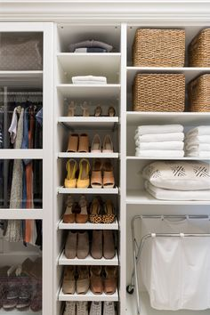 Walk-in Closet Makeover with IKEA PAX - Crazy Wonderful women's shoe storage ideas, IKEA closet makeover Ikea Closet Hack, Ikea Pax Wardrobe, Closet Hacks, Ikea Inspiration, Walking Closet, Ikea Shoe Storage, Shoe Storage Walk In Closet, Shoe Closet Organization, Ikea Wardrobe Storage
